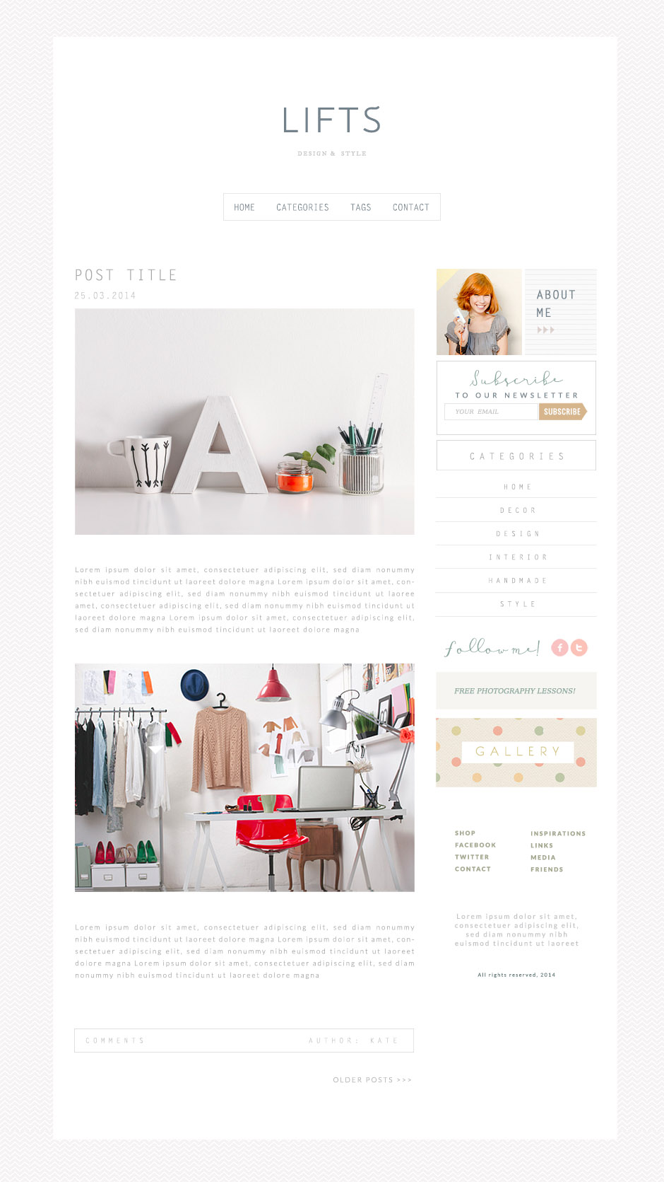 minimalistyczny szablon na bloga