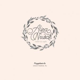 logo wianek roślinne akwarela