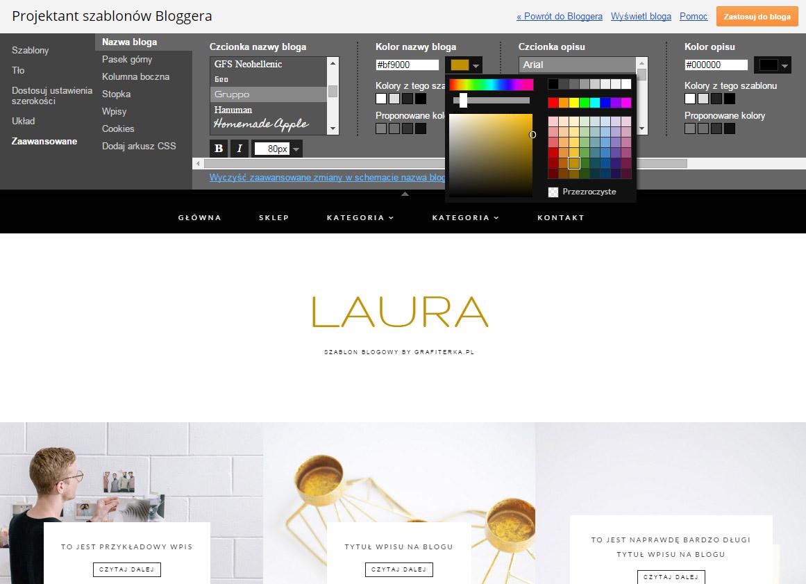 projektant szablonów bloggera